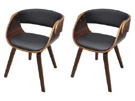 2 Medinės Valgomojo Kėdės, Rudos - vidaxl - nuotraukos Nr. 2