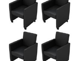 4 Krėslų Komplektas, Juoda Dirbtinė Oda, vidaxl