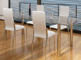 4 Valgomojo Kėdės, Chromas ir Balta Oda, vidaxl - nuotraukos Nr. 2