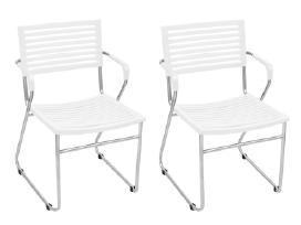 2 Baltos Kėdės su Porankiais, vidaxl