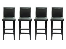 4 Juodos Dirbtinės Odos Baro Kėdžių Komplektas - nuotraukos Nr. 2