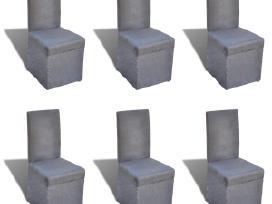 6 Valgomojo Kėdžių Komplektas, Tamsiai Pilkos