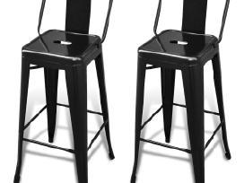 2 Aukštos Baro Kėdės, Juodos, vidaxl