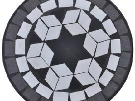 Staliukas su Juodos/baltos Spalvos Mozaika, vidaxl