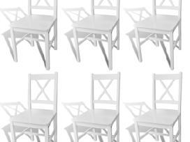 6 Medinės Valgomojo Kėdės, Baltos, vidaxl