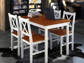 Medinis Stalas ir 4 Medinės Kėdės, vidaxl