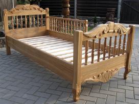 Ąžuolo masyvo, puoštos drožiniais lovos - nuotraukos Nr. 5