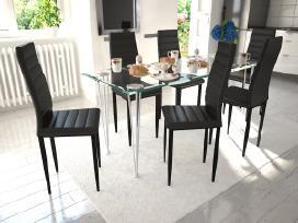 6 Juodos Kėdės ir 1 Stiklinis Stalas 271690 vidaxl