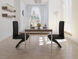 2 Juodos Valgomojo Kėdės, Zigzago Formos, vidaxl