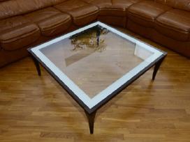 Kokybiškas svetainės stalas medis-stiklas Skubiai - nuotraukos Nr. 2