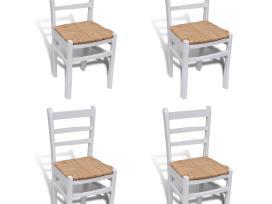 4 Baltai Dažytos Medinės Valgomojo Kėdės, vidaxl