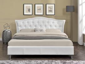 Nauja klasikinė odinė lova su nauju čiužiniu