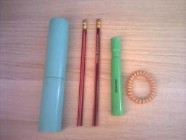 Įvairios papkės, sąsiuviniai, pieštukai ir kt.
