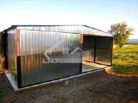Cinkuotas garažas su dvišlaičiu stogu