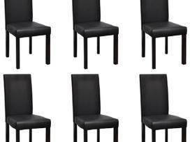 6 Valgomojo Kėdės, Juoda Dirbtinė Oda,16026 vidaxl