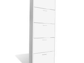 Balta Medinė Batų Spintelė su 5 Skyriais, vidaxl