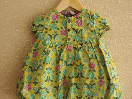 Žalia suknelė su gėlytėm Hema 74 dydis