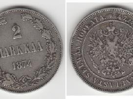 Rusija-suomija 2 marka 1874m. St. puikus. Kaina 35 - nuotraukos Nr. 4