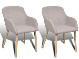 2 Ąžuolinės Audiniu Aptrauktos Kėdės 241155 vidaxl