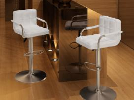 2 Baltos Baro Kėdės su Porankiais, vidaxl
