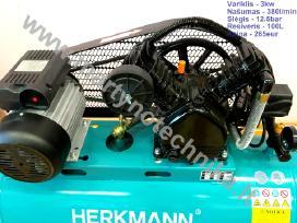 Oro kompresorius 2cilindrai/100l 380l/min 3kw - nuotraukos Nr. 2