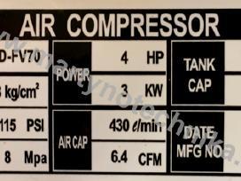 Oro kompresorius 2cil/70l 430l/min 3kw - nuotraukos Nr. 4