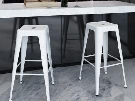 2 Aukštos Baro Kėdės, Baltos, vidaxl