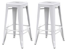 2 Aukštos Baro Kėdės, Baltos, vidaxl - nuotraukos Nr. 2