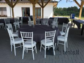 apvalaus stalo nuoma, baltos kėdes