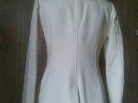 Baltas vilnonis puspaltis (striukė) su gobtuvu - nuotraukos Nr. 2