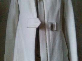 Baltas vilnonis puspaltis (striukė) su gobtuvu - nuotraukos Nr. 3