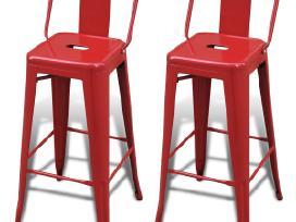 2 Aukštos Baro Kėdės, Raudonos, vidaxl - nuotraukos Nr. 2