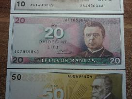 1991 Unc litų banknotai 10lt, 20lt 50lt. Reti