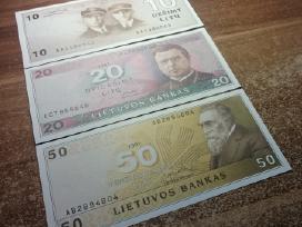 1991 Unc litų banknotai 10lt, 20lt 50lt. Reti - nuotraukos Nr. 3