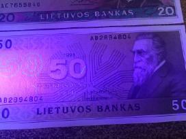 1991 Unc litų banknotai 10lt, 20lt 50lt. Reti - nuotraukos Nr. 4