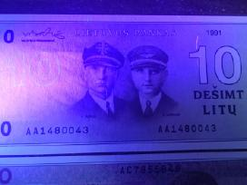 1991 Unc litų banknotai 10lt, 20lt 50lt. Reti - nuotraukos Nr. 6
