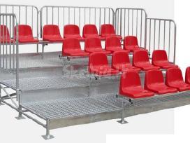 Sporto įranga,metalinės tribūnos, žiūrovų kėdės,