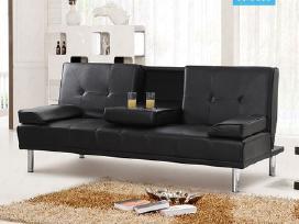 Naujos odinės sofos - lovos su bariuku