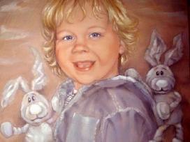 Vaiko portretas.Pastelė.