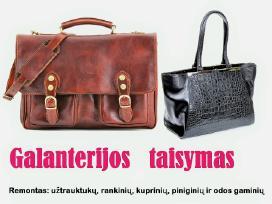 Rankinių, piniginių, kuprinių, lagaminu taisymas