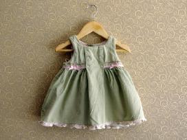 Žalia suknelė su gėlytėm Hema 68 74 dydis