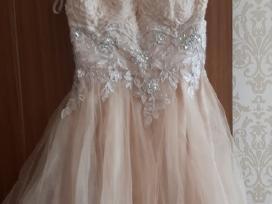 Trumpa puošni šampano spalvos suknelė