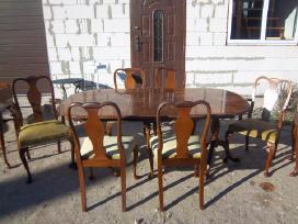 Klasikinis antikvarinis stalas ir 6 kėdės