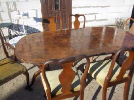 Klasikinis antikvarinis stalas ir 6 kėdės - nuotraukos Nr. 2