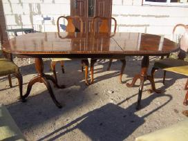 Klasikinis antikvarinis stalas ir 6 kėdės - nuotraukos Nr. 5