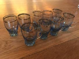 Tarybinių laikų stikliukai-žydro stiklo,9 vnt-20eu