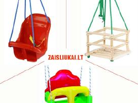 Medinės ir plastmasinės sūpynės vaikams su apsauga