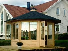 Medinė pavėsinė, sodo pavilijonas, vasarnamis
