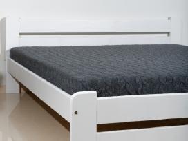 Nauja dvigulė medinė lova balta masyvas 160 x 200