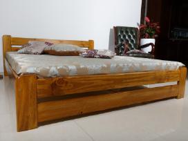 Nauja dvigulė medinė lova balta masyvas 180 x 200